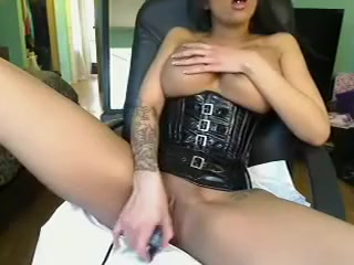 busty brunette with nice big tits stripteasing and seduce on webcam