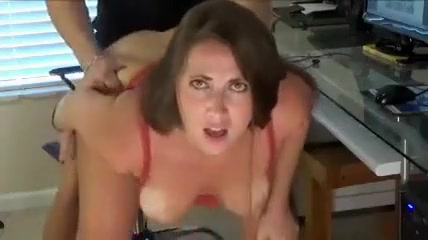 sexy mature brunette enjoying hard cock ride with horny bald guy
