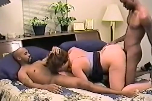 hot blonde milf sucks black cock while the second black guy fucks her