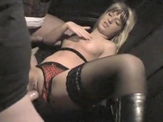 blonde slut with a juicy pussy takes two guys in a rut