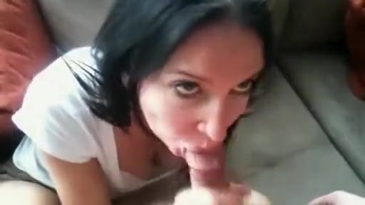 cock devouring brunette slut tease while sucking and licking hard cock