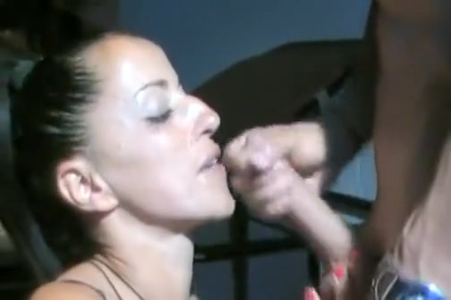brunette gets a big hard cock to suck and fuck at home