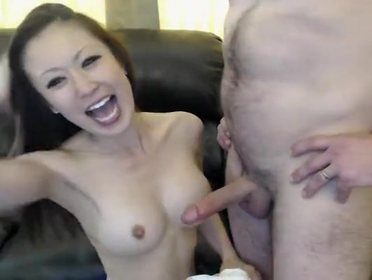 brunette on webcam tease with her tight pussy on sucks hard cock of mature guy