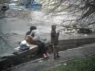 a sexually excited couple gets filmed fucking outside in public.