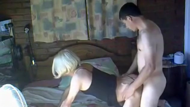 blonde milf gets doggystyle and missionary fucked on the bed