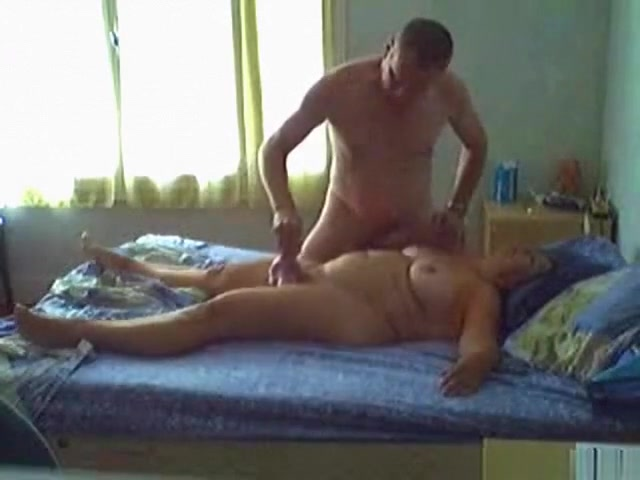 fat french brunette milf gets her shaved pussy masturbated with a vibrator, eaten out and doggystyle fucked on the bed.