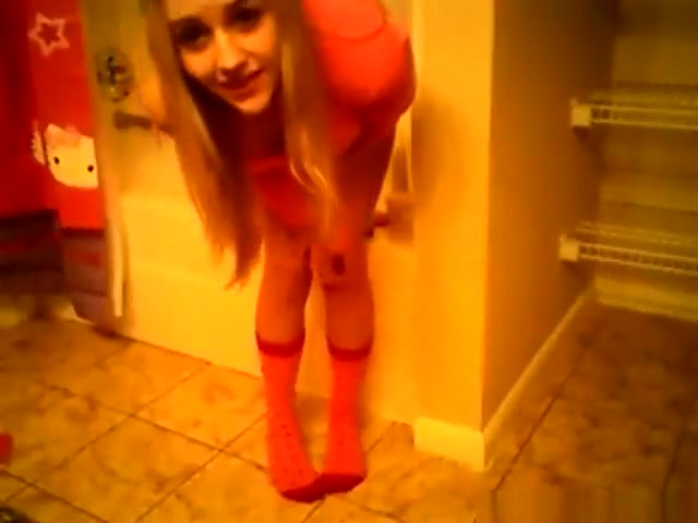 super cute blonde girl plays with herself in the bathroom
