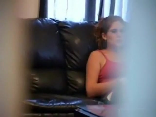 voyeur strips stealthily neighbor playing with herself on the couch