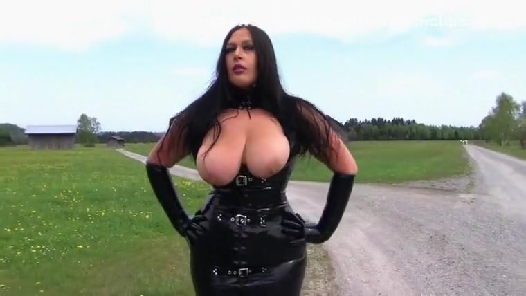 dirty latex slut in the mountains - blowjob handjob with long black latex gloves - fucking my tits - cum on my tits